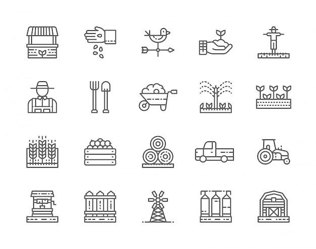 Set di icone linea agricoltura e agricoltura. Vettore Premium