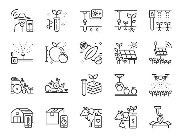 Set di icone linea agricoltura intelligente. Vettore Premium