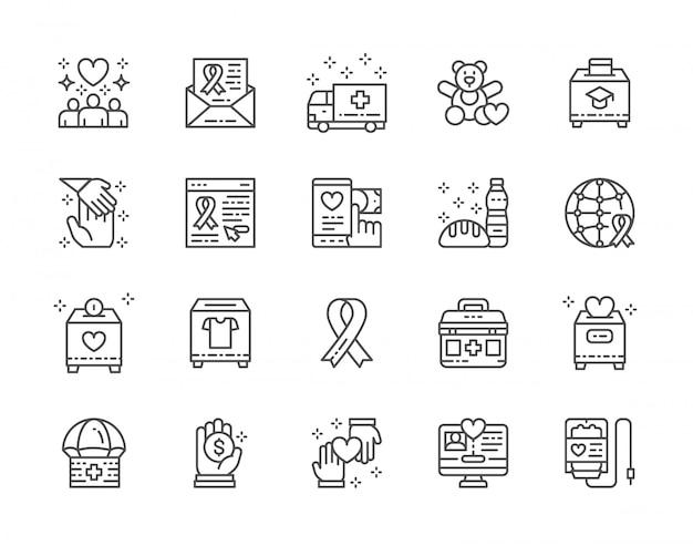 Set di icone linea di beneficenza e donazione. Vettore Premium