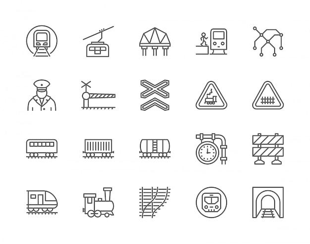 Set di icone linea ferroviaria e ferroviaria. Vettore Premium