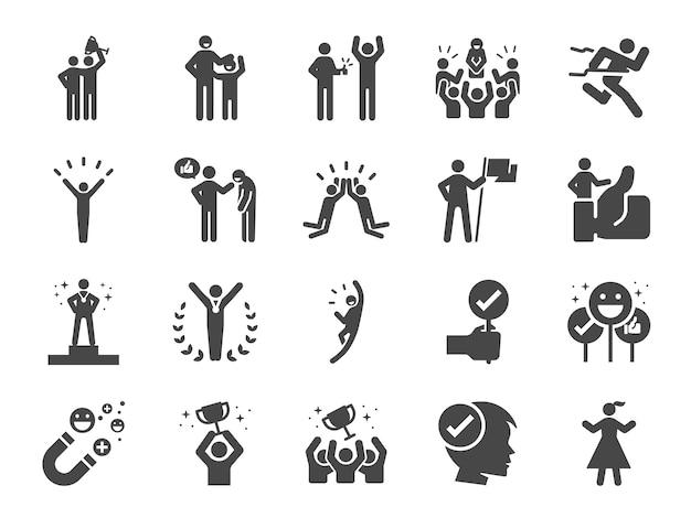 Set di icone linea lodato e soddisfatto Vettore Premium