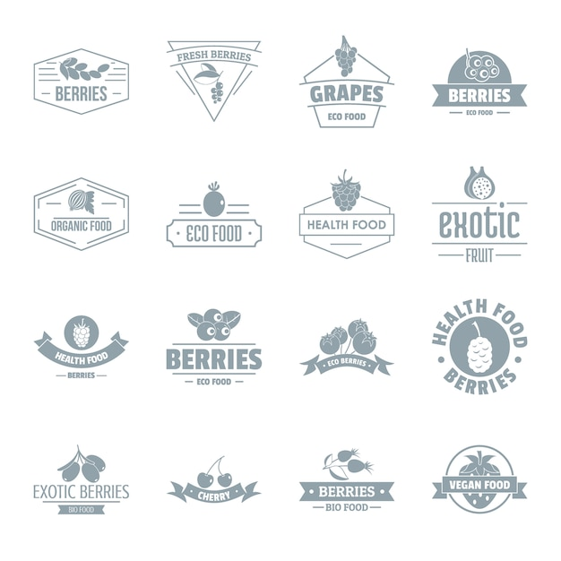 Set di icone logo bacche Vettore Premium