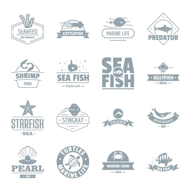 Set di icone logo pesce di mare Vettore Premium