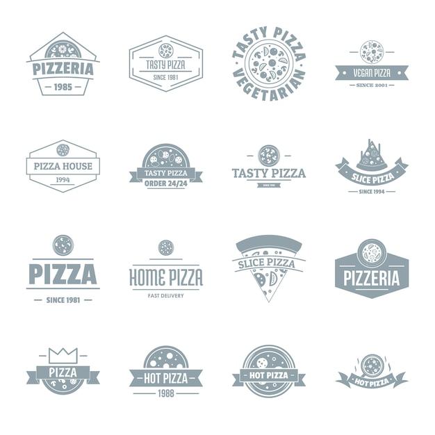 Set di icone logo pizzeria Vettore Premium