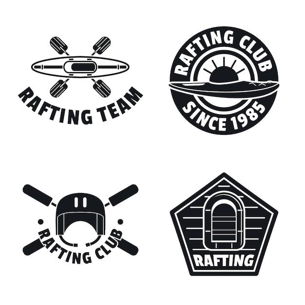 Set di icone logo rafting kayak canoa Vettore Premium