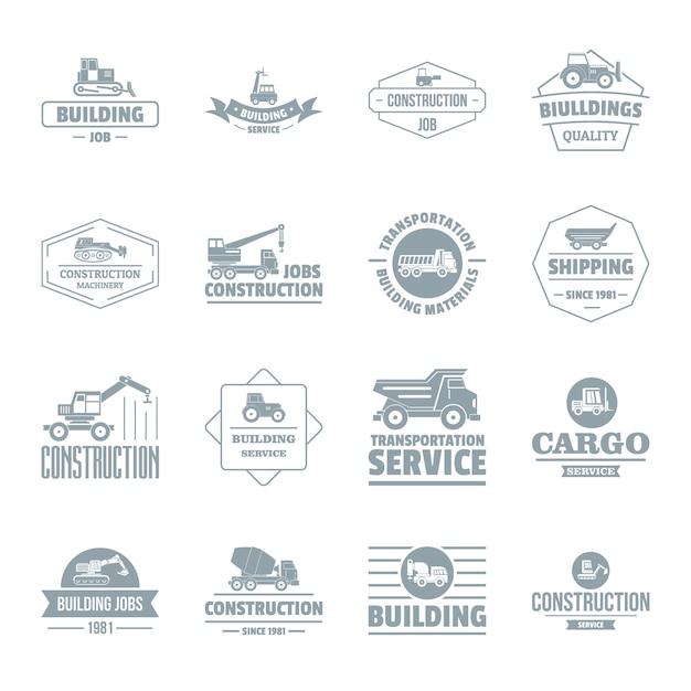 Set di icone logo veicoli da costruzione Vettore Premium