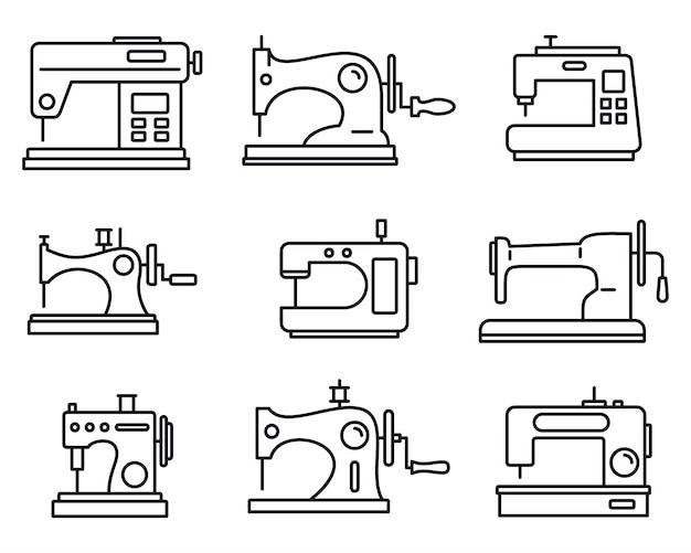 Set di icone macchina cucire tessuto Vettore Premium