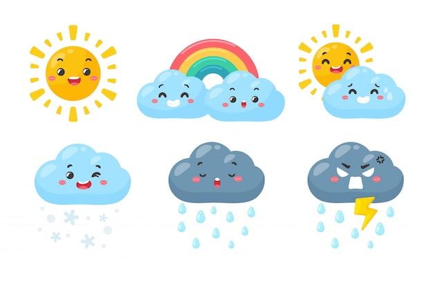 Set di icone meteo carino. icona di previsioni del tempo isolata su fondo bianco. Vettore Premium