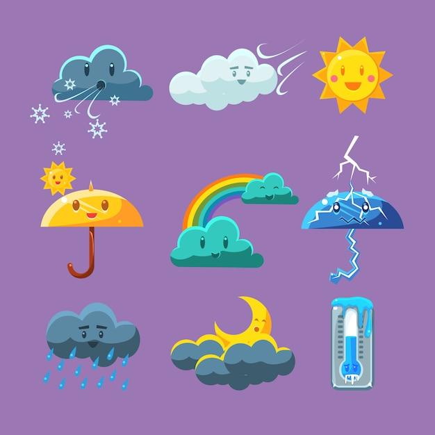 Set di icone meteo infantile Vettore Premium
