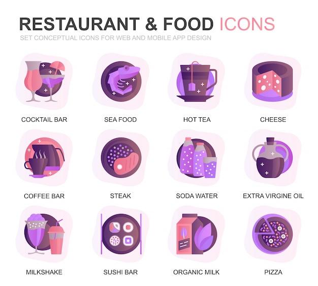 Set di icone moderne di ristorante e cibo gradiente piatto Vettore Premium