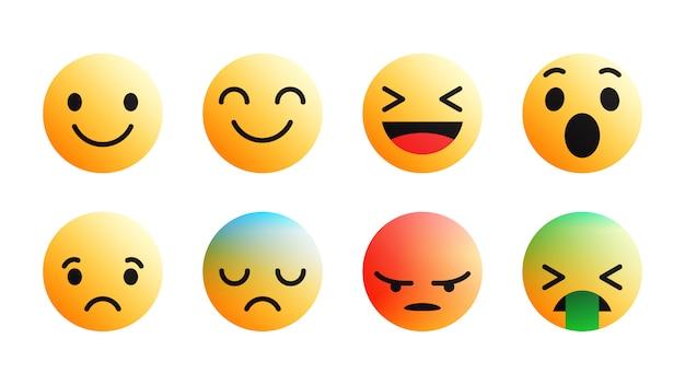Set di icone moderne emoji differenti reazioni di facebook Vettore Premium
