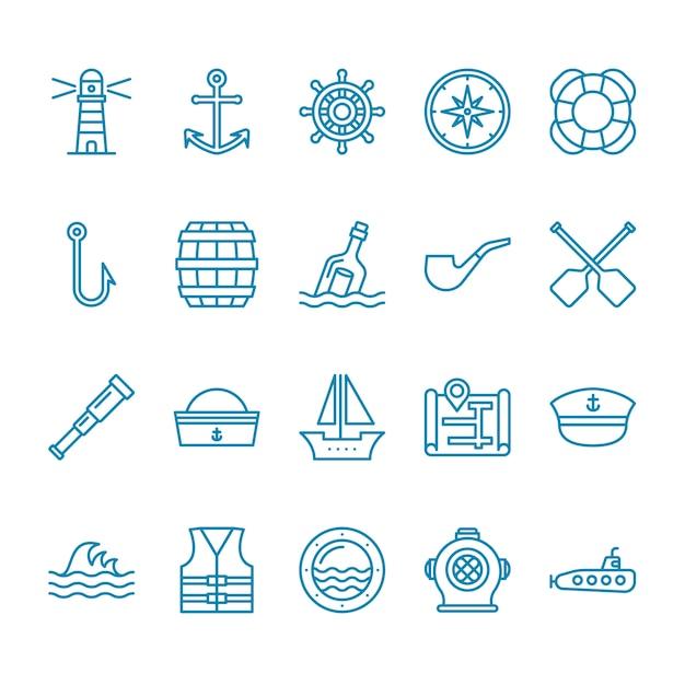 Set di icone nautiche Vettore Premium