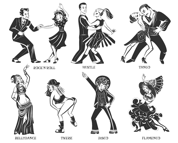 Set di icone nere di ballo nativo popolare Vettore gratuito