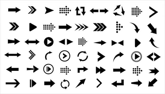Set di icone nere grandi frecce Vettore Premium