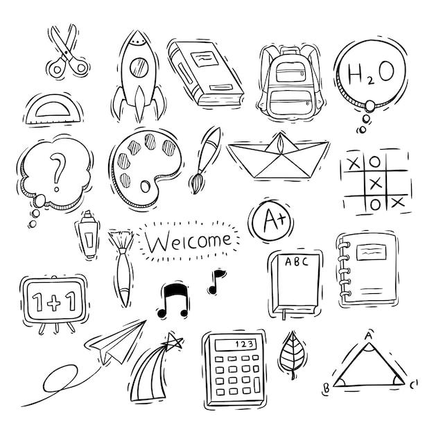 Set di icone o elementi di scuola doodle bianco e nero Vettore Premium