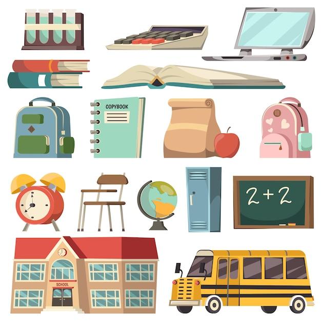 Set di icone ortogonali scuola Vettore gratuito