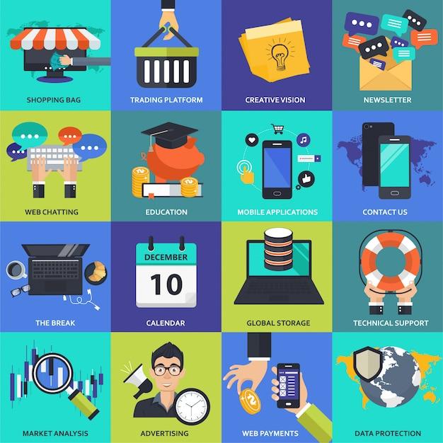 Set di icone per affari, gestione, tecnologia e finanza Vettore Premium