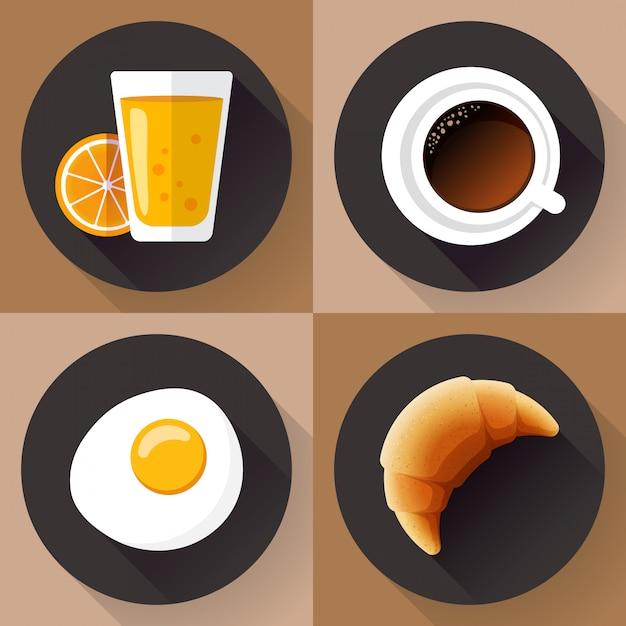Set di icone per la colazione. bicchiere di succo, caffè, uova e cornetto. stile design piatto. Vettore Premium
