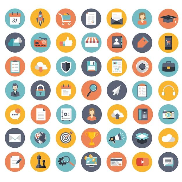 Set di icone per sito web e applicazioni mobili Vettore Premium