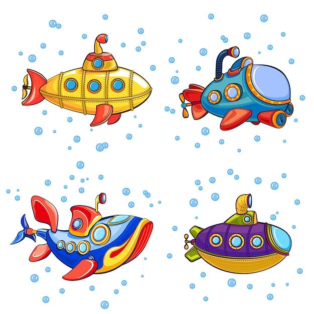 Set di icone periscopio. insieme del fumetto delle icone del periscopio Vettore Premium