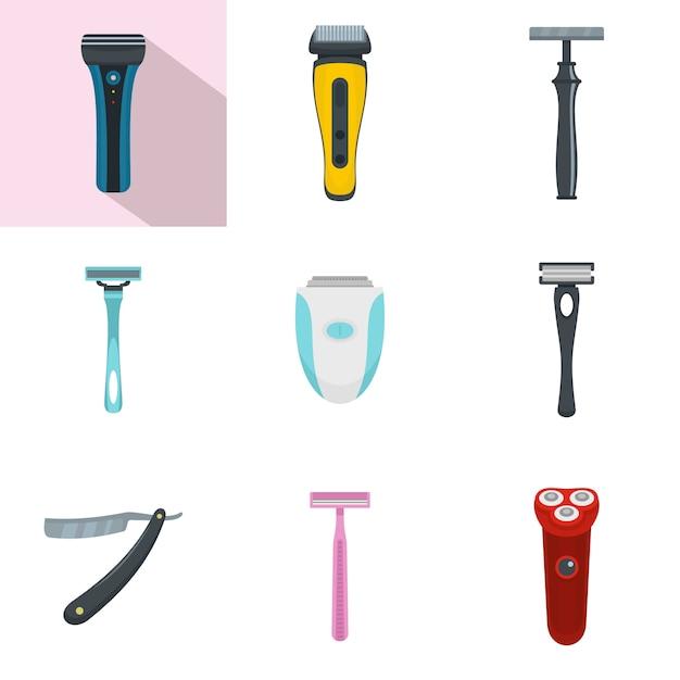 Set di icone personali rasoio lama rasoio Vettore Premium