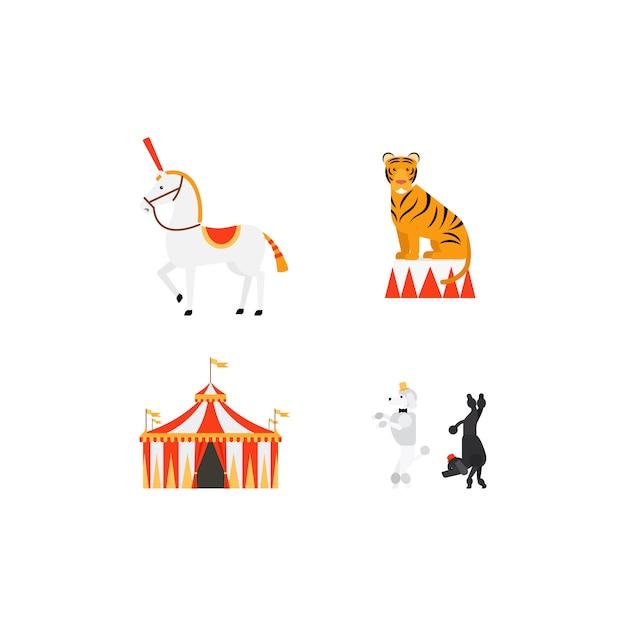 Set di icone piane del circo Vettore Premium