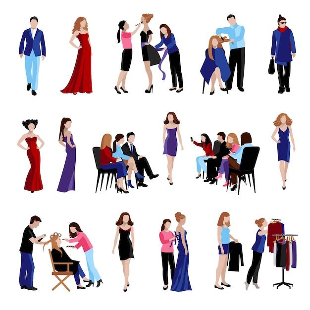 Set di icone piane del modello di moda Vettore gratuito