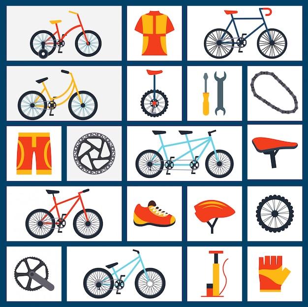 Set di icone piane di accessori di biciclette Vettore Premium
