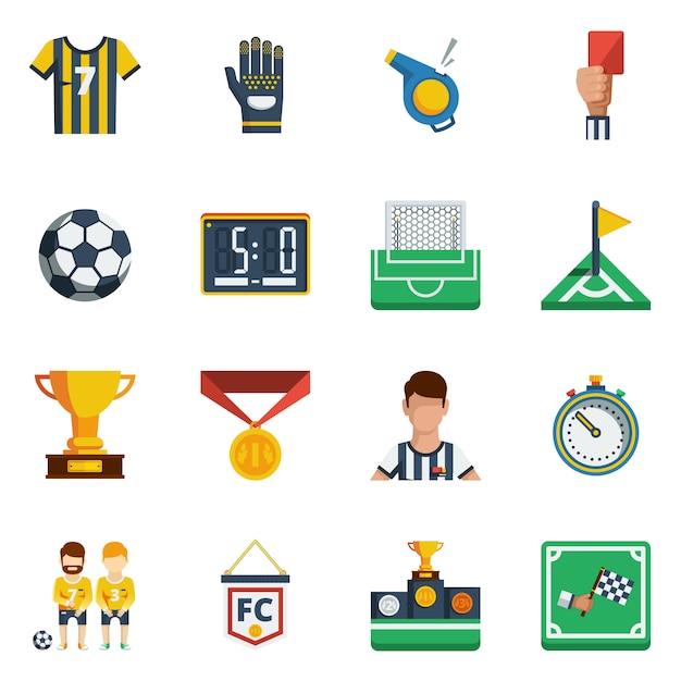Set di icone piane di calcio Vettore gratuito
