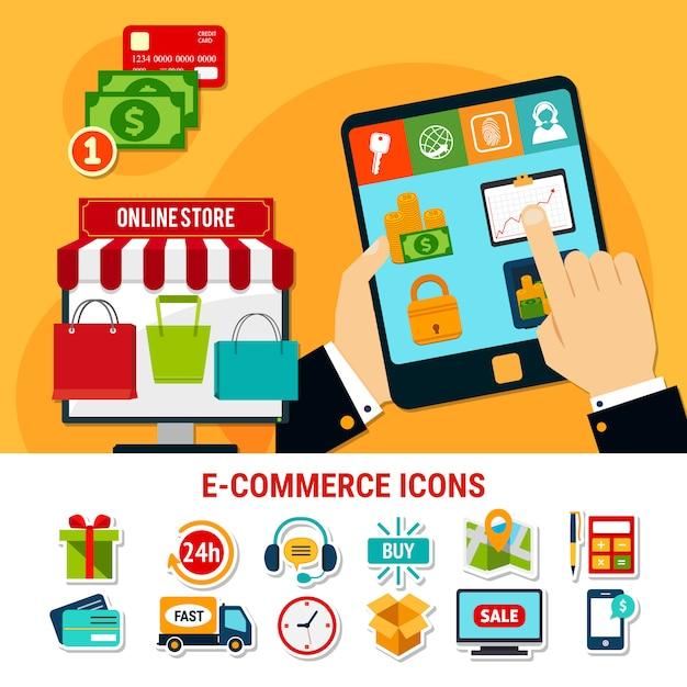 Set di icone piane di e-commerce Vettore gratuito