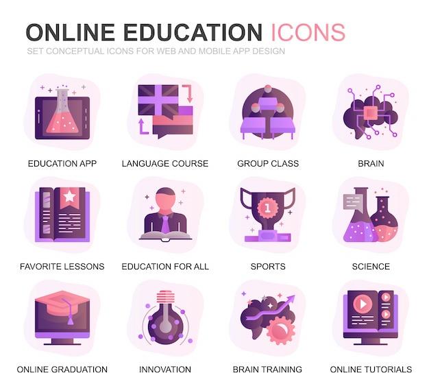 Set di icone piane di educazione moderna e conoscenza Vettore Premium
