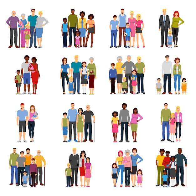 Set di icone piane di gruppi di membri della famiglia Vettore gratuito