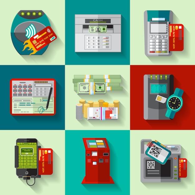 Set di icone piane di metodi di pagamento Vettore Premium