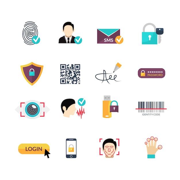 Set di icone piane di metodi sicuri di verifica Vettore Premium