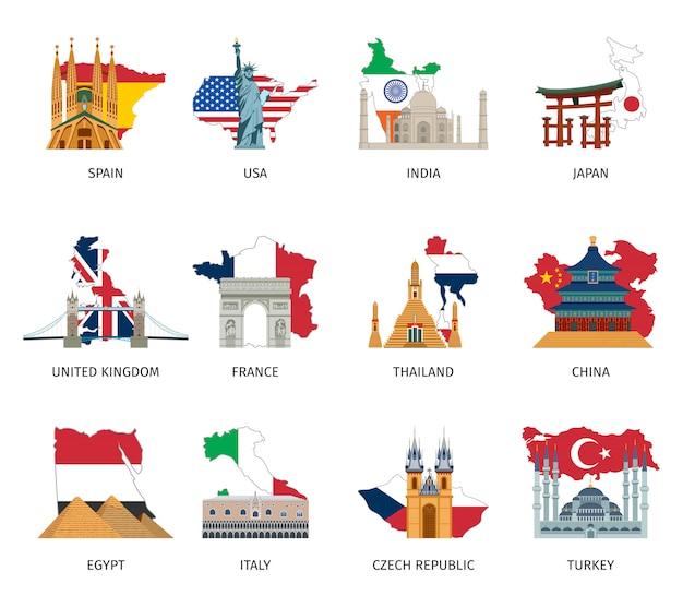Set di icone piane di punti di riferimento di bandiere di paesi Vettore gratuito