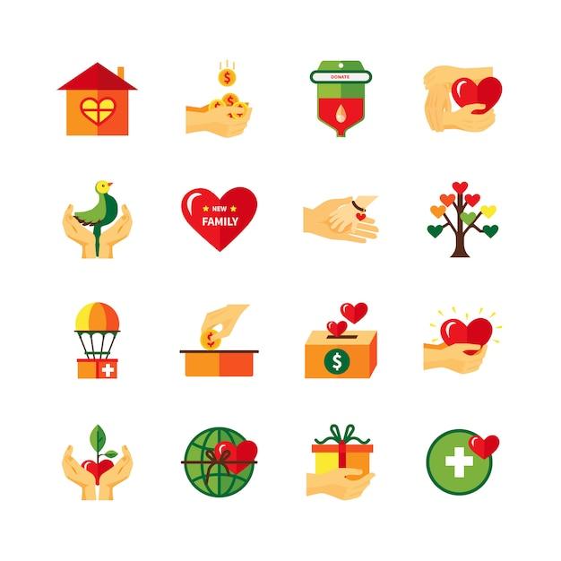 Set di icone piane di simboli di carità Vettore gratuito