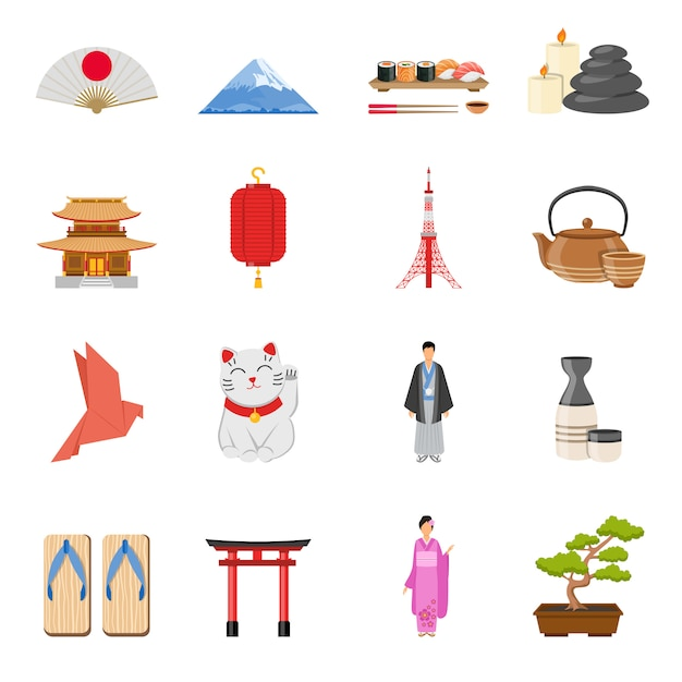 Set di icone piane di simboli nazionali giapponesi Vettore gratuito