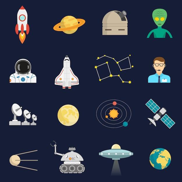 Set di icone piane di spazio cosmo Vettore gratuito