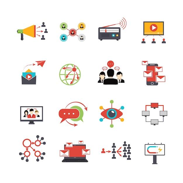 Set di icone piane di tecnica di marketing virale Vettore gratuito