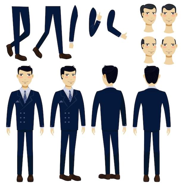 Set di icone piane di uomo d'affari asiatico Vettore gratuito