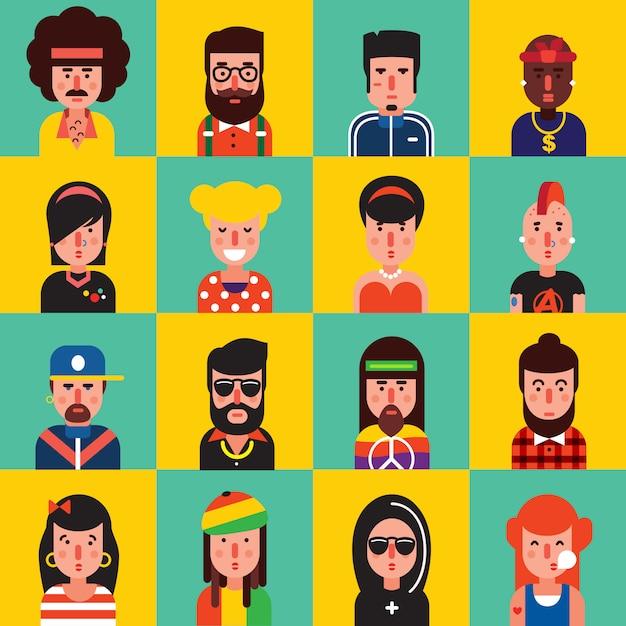 Set di icone piatte avatar Vettore gratuito