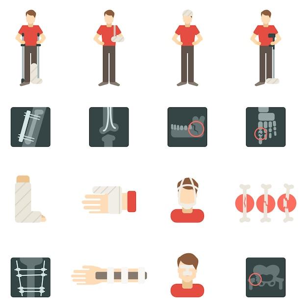 Set di icone piatte dell'osso di frattura Vettore gratuito