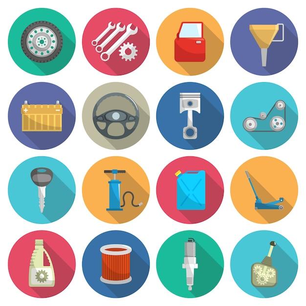 Set di icone piatte di manutenzione del servizio auto Vettore gratuito