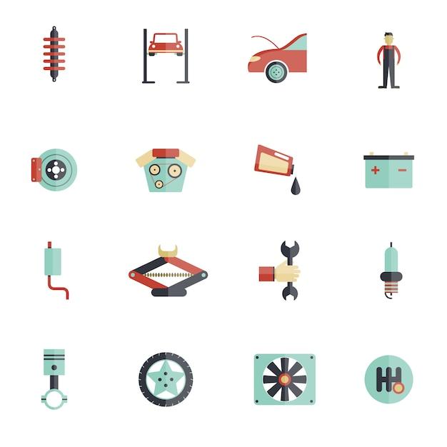 Set di icone piatte di servizio automatico Vettore Premium