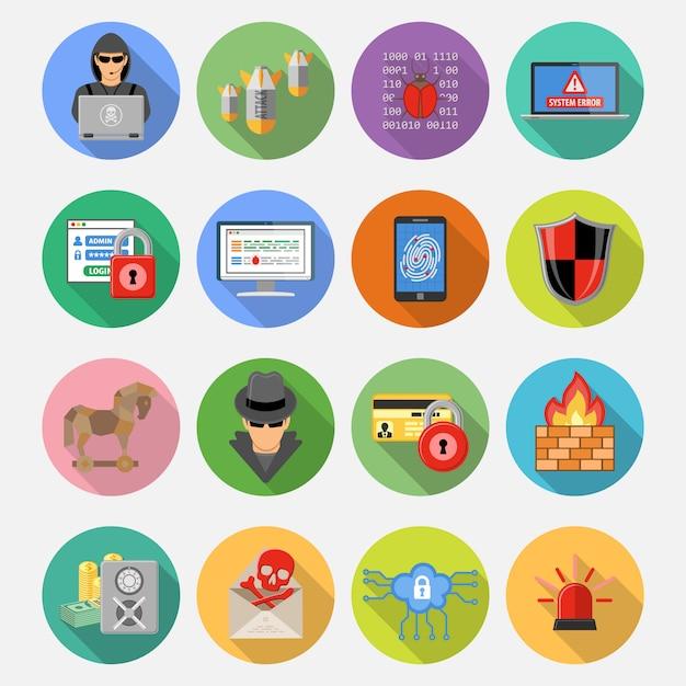 Set di icone piatte di sicurezza di internet Vettore Premium