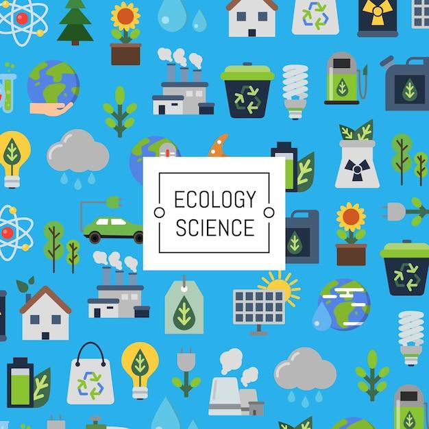 Set di icone piatte ecologia Vettore Premium