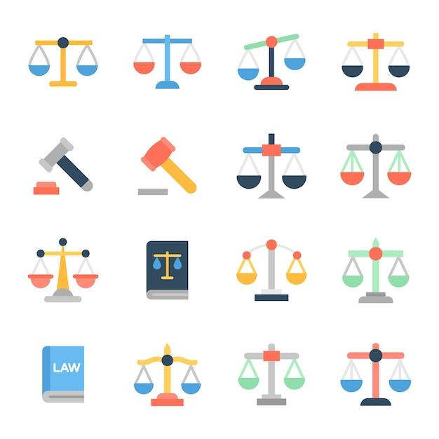 Set di icone piatte legge Vettore Premium
