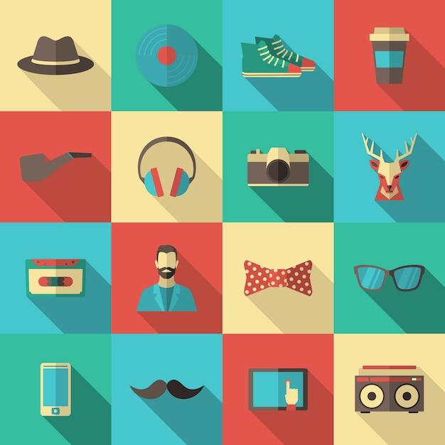 Set di icone piatto hipster Vettore Premium