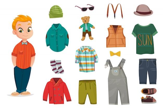 Set di icone piatto moda bambino Vettore Premium