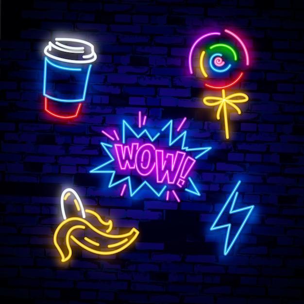 Set di icone pop art. insegna al neon pop art. insegna luminosa, insegna luminosa. Vettore Premium
